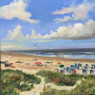 Cabins, beach, Katwijk, seascape, heleen van Lynden