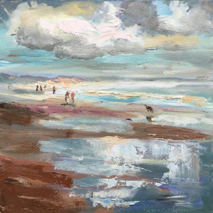 Beach, storm, oilpainting, Heleen van Lynden