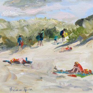 Going home, dunes, beach, heleen van Lynden, oilpainting, seascape