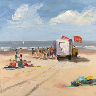 icecream, beach, seascape, heleen van Lynden, oilpainting