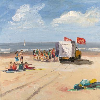 icecream, beach, seascape, heleen van Lynden, oilpainting