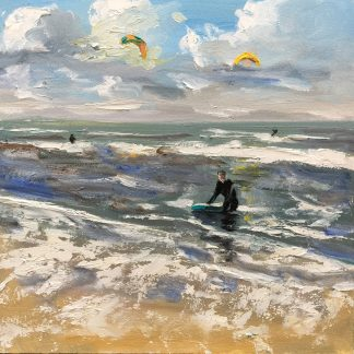 kiting, seascape, shore, heleen van Lynden, oilpaintings