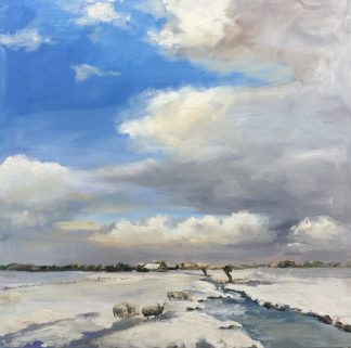 sneeuwlandschape met schapen, sneeuw, winter, heleen van Lynden