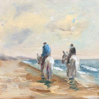 horses along the beach, seaview, seascape, Heleen van lynden