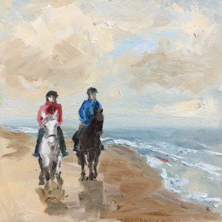 Horses along the seashore, beach oilpainting, seaview, seascape, Heleen van Lynden Size: 19x19 cm, oil on panel
