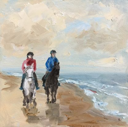 Horses along the seashore, beach oilpainting, seaview, seascape, Heleen van Lynden Size: 19x19 cm, oil on panel