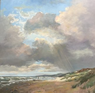 Turbulent sky, autumn, seascape, beach, oilpainting, Heleen van Lynden,