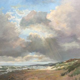 Turbulent sky, autumn, seascape, beach, oilpainting, Heleen van Lynden,