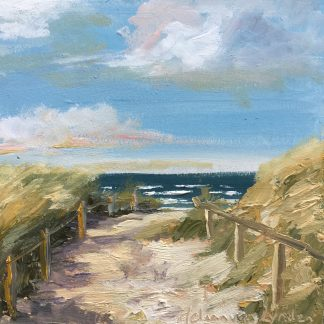 Beachentrance in Noordwijk, sunny day, seascape, beach, Heleenvanlynden, oilpainting