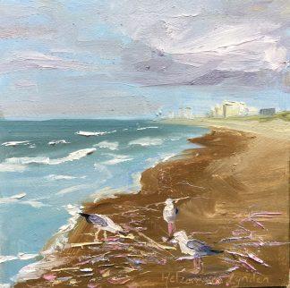 Gulls and razorblades, meeuwen en scheermesjes op het strand, oilpainting, olieverfschilderij, beach, seaview, Heleenvanlynden