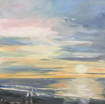 Sunset-zonsondergang-zeegezicht-seascape-oilpainting-Heleenvanlynden-olieverfschilderij