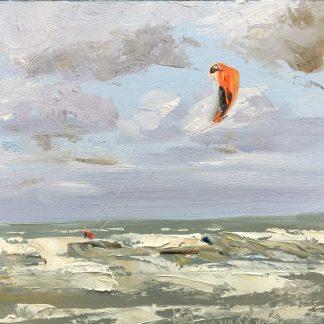 kiten, kiters kiting, seascape, oilpainting, rough sea, small painting, Heleen van Lynden