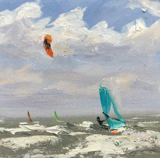 surfen, kiters kiting, seascape, oilpainting, rough sea, small painting, Heleen van Lynden