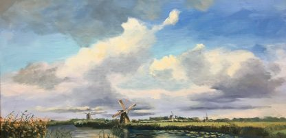 Kinderdijk-100x50 cm, oilpainting, Dutch landscape, typical dutch, windmills, Heleen van Lynden