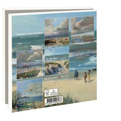 Postcards, kiters and surfers, beachpaintings Heleen van Lynden