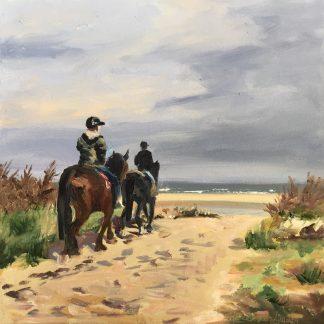 horseback, horse, beach, beachview, dunes, seascape, oilpainting, heleen van Lynden