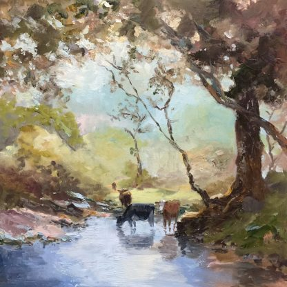 landscape with cows, Heleen van Lynden, oilpainting, landscape, dutch landscape, Drente,