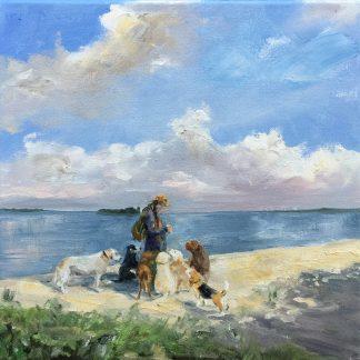 Dogservice, oilpainting, Muiderberg Heleen van Lynden g