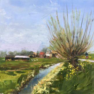 Spring-lente-olieverfschilderij-hollands landschap-Heleen van Lynden
