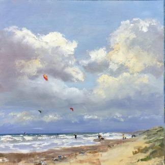 kiting on sea, kiten op zee, kiting, seascape, beach, Heleen van Lynden