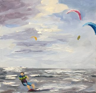 kiting on sea, kiten op zee, kiting, seascape, beach, Heleen van Lynden