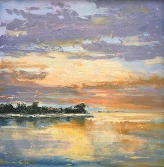Muiderberg avondlicht-zonsondergang-spiegeling-olieverfschilderij-Heleen van Lynden