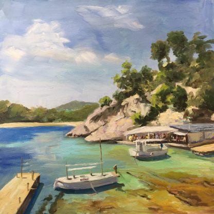 Ibiza, El Bigote,Bar Ibiza, beach, oilpainting, Heleen van Lynden