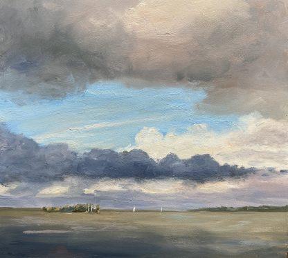 wolkenlucht, sky with clouds, Muiderberg, waterscape, oilpainting, Heleen van Lynden