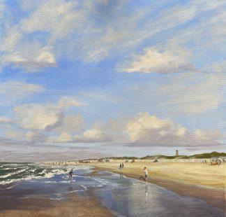 Domburg strand, zee, zon, zomer, eb. Richting Oostkapelle. Zeeland, Heleen van Lynden