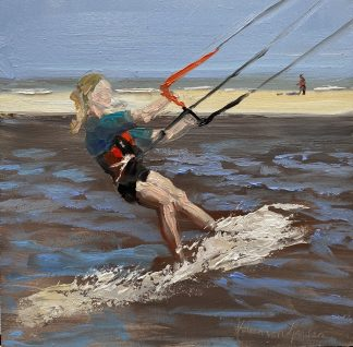 kiten, sea, beach, watersports, oilpainting
