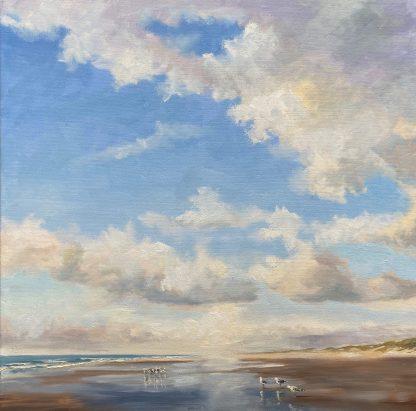 80x80 cm, Silent beach oilpainting, light on the beach, friendly clouds, gulls, stil strand, vriendelijke wolken, reflectie, olieverf schilderij