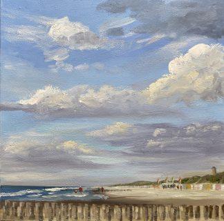 Domburg met paalhoofden, Zeeland, zeeuwse kust, olieverfschilderij, zee, strand, badplaats, Heleen van Lynden
