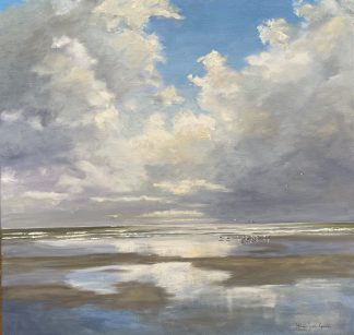shallow waters, seascape, eb, low tide, zeegezicht, strand, beach, clouds, wolken, tegenlicht, reflection, reflectie, heleenvanlynden, oilpainting, olieverfschilderij, 80x80 cm.