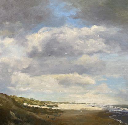 seascape, eb, low tide, zeegezicht, strand, beach, clouds, wolken, tegenlicht, reflection, reflectie, heleenvanlynden, oilpainting, olieverfschilderij, 80x80 cm.