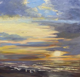 Eveningsky, beach, sunset, seascape, ondergaande zon, avondlicht, strand, olieverfschilderij