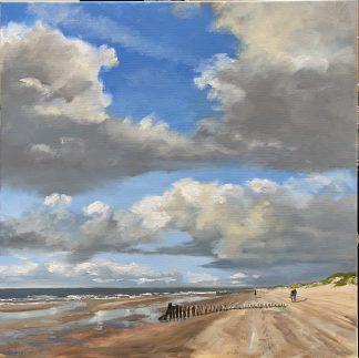Haamstede, zee, strand, zeegezicht, olieverfschilderij, zeeschilderij, strandschilderij, nederlandse-kust-schilderij, luchten, Heleenvanlynden