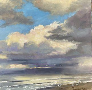 evening at sea, avond aan zee, zeegezicht, seascape, lucht, wolken reflectie