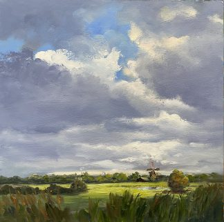 sky, clouds, dutch landscape, oilpainting-heleenvanlynden