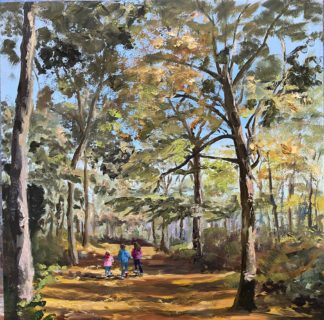 Kids in the wood, children, autumn, orange, oilpainting, kinderen in het bos, olieverfschilderij, herfst