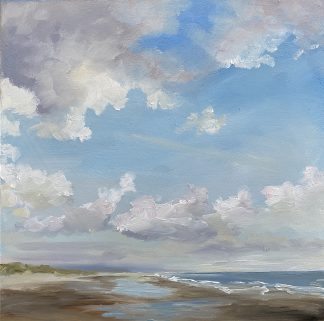 tegenlicht, oilpainting, backlight, beach, sea, coast clouds,