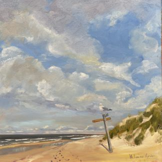 A walk on the beach, oilpainting, beach, seascape