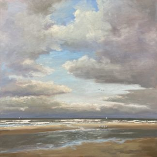 seascape, cloudy weather, sea, beach, winter, autumn, heleen van Lynden, oilpainting