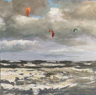 kiten op zee, kiten, zeegezicht, ruwe zee, olieverfschilderij, Heleen van Lynden