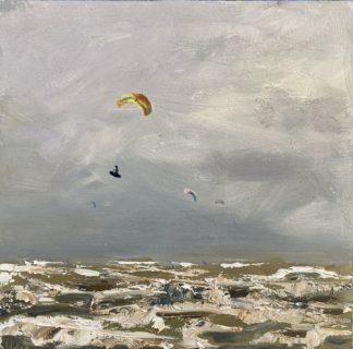 Vliegen, kiten, sprong, ruwe zee, olieverfschilderij, Heleen van Lynden