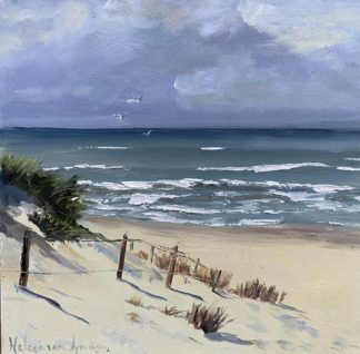 vanuit de duinen, zeegezicht, strand, Heleen van Lynden