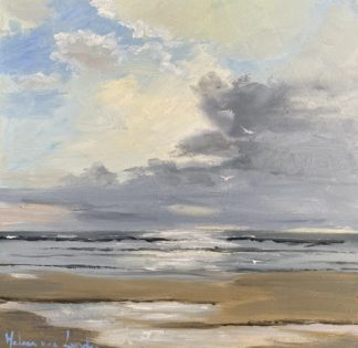 Silent beach, sea, view from dunes, beach, sky, Heleen van Lynden