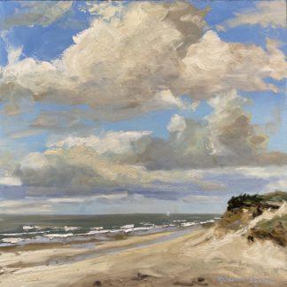 Silent beach, sea, view from dunes, beach, sky, Heleen van Lynden