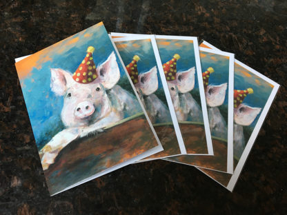 Feestvarken, dubbele kaart met enveloppe, Heleen van Lynden