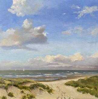 Summer, oilpainting, zomer, zeegezicht, olieverfschilderij, strandgezicht, duinen, Heleen van Lynden