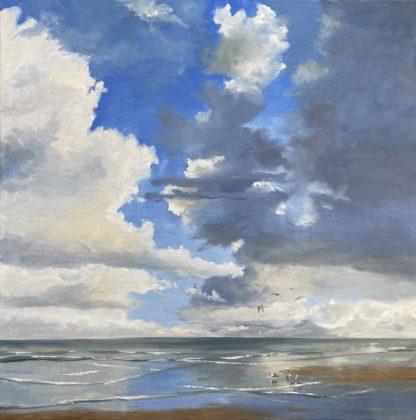 clouds, oilpainting, zomer, zeegezicht, olieverfschilderij, strandgezicht, Heleen van Lynden